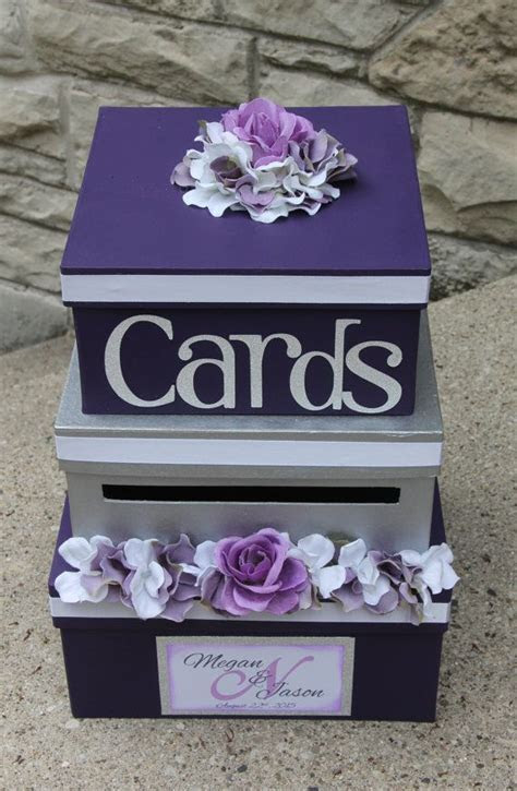 Wedding Card Box 3 Tier Card Holder Square Purple by