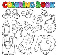 Children With Winter Cloths Coloring Pages