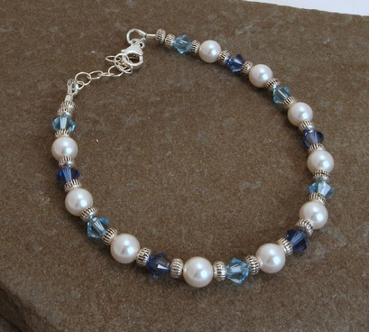 Swarovski Blue Crystal and White Pearl Beaded by HyperspaceHippo