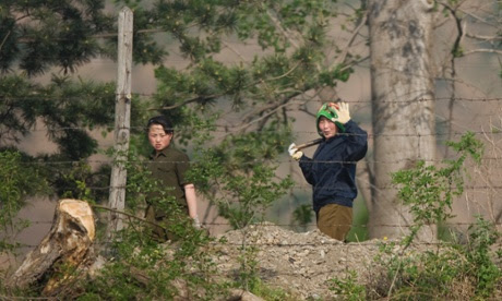 North Korean workers at the border