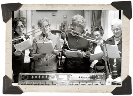Early Donovan Scholars participated in a radio drama at the University of Kentucky. (Photo UK Alumni)