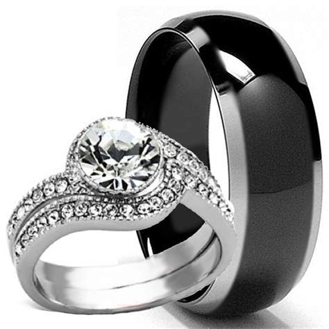 Black TITANIUM Mens Band and 2 pc Womens Engagement