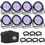 American DJ ADJ Mega Flat Pak 8 Plus LED Mega Par Profile System w/ Bag + Cables by VM Express
