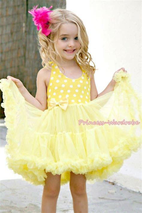 yellow white polka dots party dress full tutu petti girl