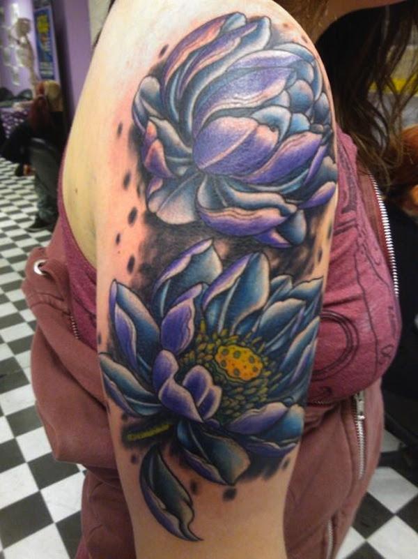 Twin Purple Lotus Tattoo On Upper Arm