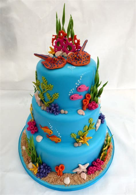 3 Tier Underwater Themed Wedding Cake « Susie's Cakes