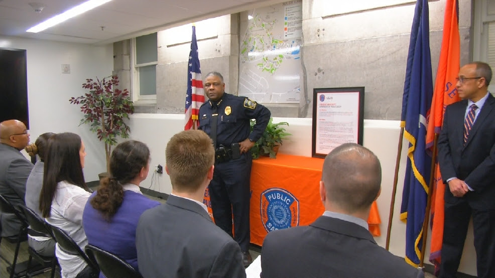 Image result for Public safety officers on SU's campus learn sign language