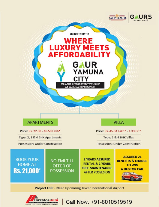 Book Your Home @ Rs 21000 Only No EMI till Possession Free Maint after Poss Near Jewar Airport Yamuna Xway