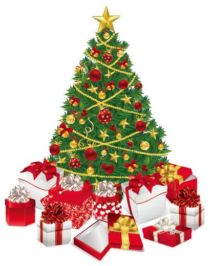 クリスマスツリークリスマスプレゼントのイラストaieps ベクター