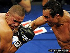 Juan Manuel Marquez lands a punch on Juan Diaz