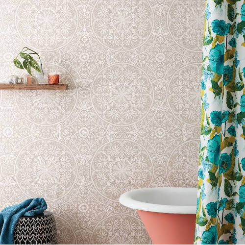 Opalhouse Cadiz Medallion Peel Stick Removable Wallpaper Stucco Beige Vinyl