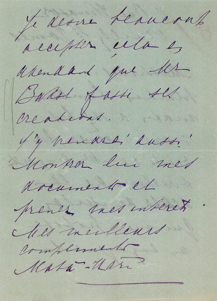 Ünlü casus Mata Hari'nin elyazısı. via http://commons.wikimedia.org