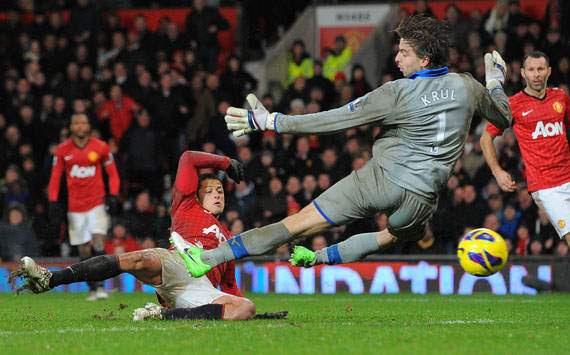 EPL - Manchester United v Newcastle United, Javier Hernandez and Tim Krul