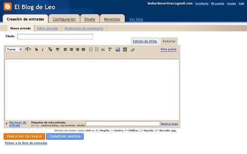 Blogger  El Blog de Leo - Crear entrada