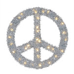 Home Heritage 22 Inch Pre Lit Artificial Holiday Christmas Peace Sign Wreath