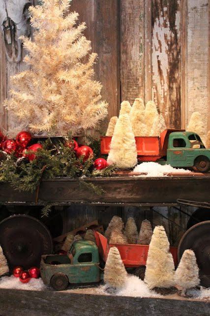 Vintage trucks and Christmas trees