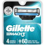 Gillette Mach 3 Cartridges - 4 cartridges