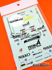 Studio27: Calcas escala 1/24 - Porsche 911 GT1 From A Nº 16 - Christophe Bouchut (FR) + Ralf Kelleners (DE) - 1000 Kilómetros de Suzuka 1997 - para kit de Tamiya TAM24186