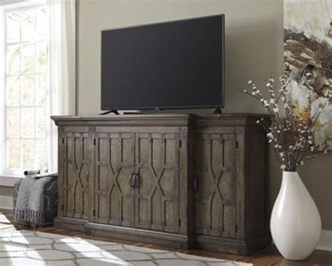extra large tv stand  console dark wood  details