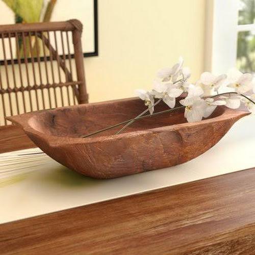Bay Isle Home Deep Wooden Dough Bowl with Handles, Natural