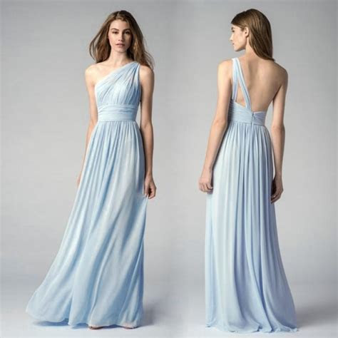 Ice Blue Bridesmaid Dresses One Shoulder Cheap Maid Of