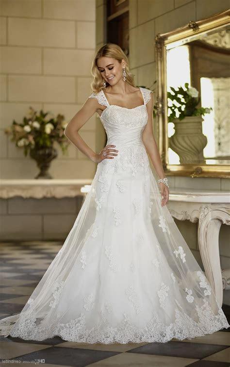a line wedding dress with lace straps Naf Dresses