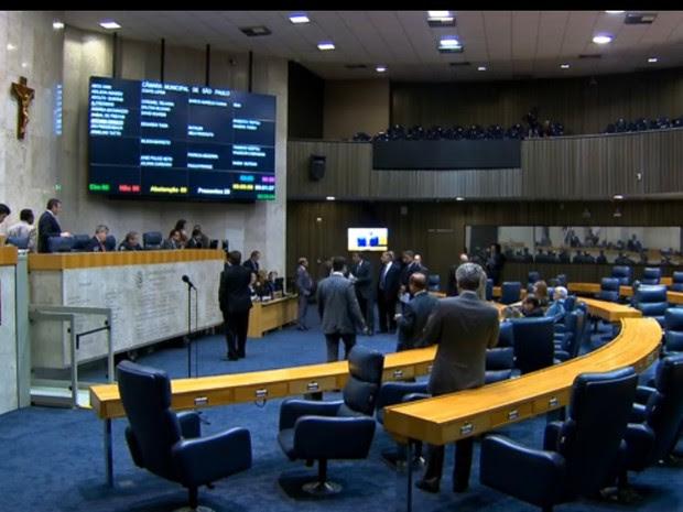 Plenário da Câmara de SP  (Foto: Reprodução/ TV Globo)