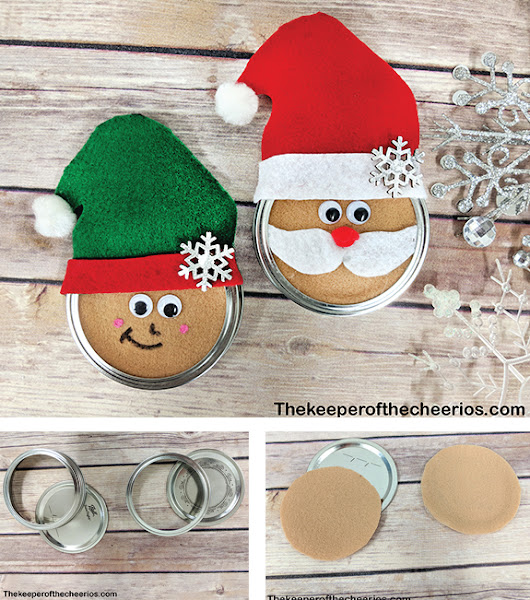 Christmas Mason Jar lid Ornaments - The Keeper of the Cheerios