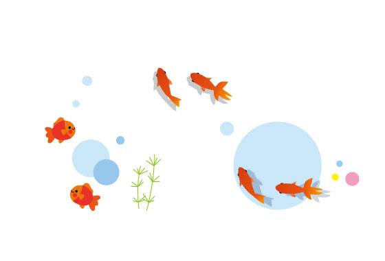 無料素材 夏らしい金魚を描いたイラストセット優雅に泳ぐ姿が