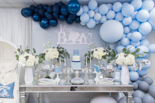 Blue And Silver Elephant Baby Shower - Baby Shower Ideas - Themes - Games