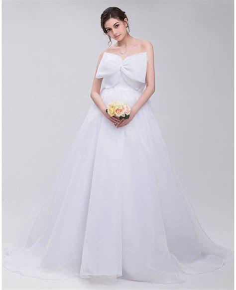 Big Bow Front Empire Waist Long Tulle Wedding Dress #