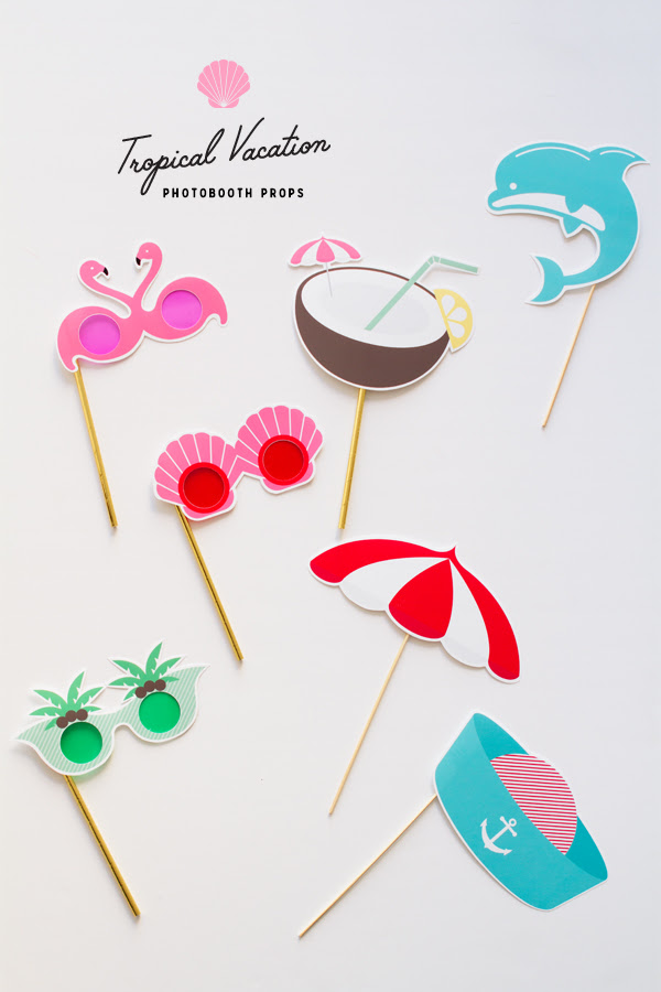 Printable Tropical Vacation Photo Booth Props