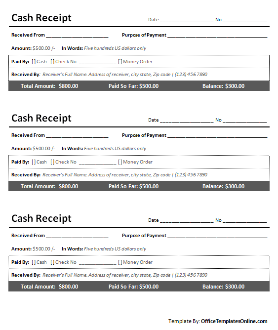 Printable Cash Receipt for MS Word   Office Templates Online