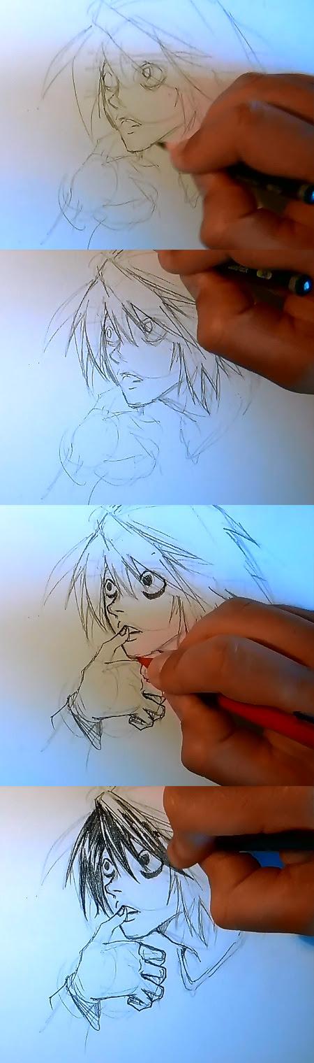 draw Death Note L step 2