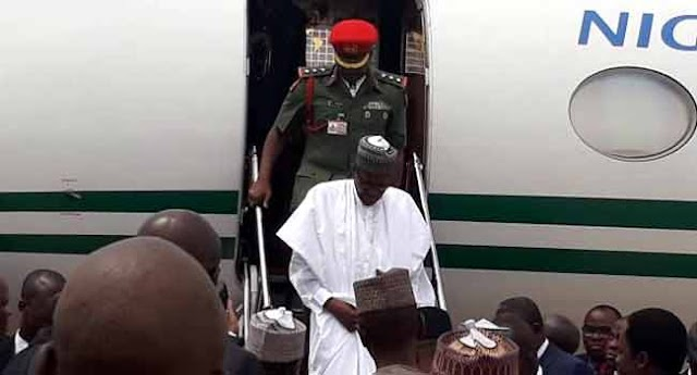 President Muhammadu Buhari on Wednesday arrived in Lagos State to commission some projects.