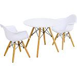 3 Piece Kids Modern Round Table Chair Set