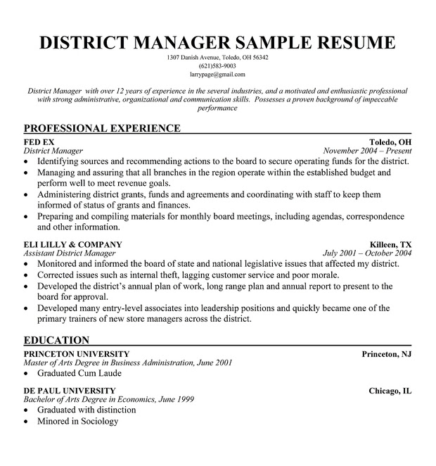 district manager sample resume1 large