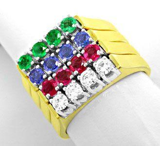 Foto 1, 4 Ringe, Brillanten Safire Rubine Smaragde, Luxus! Neu!, S8646