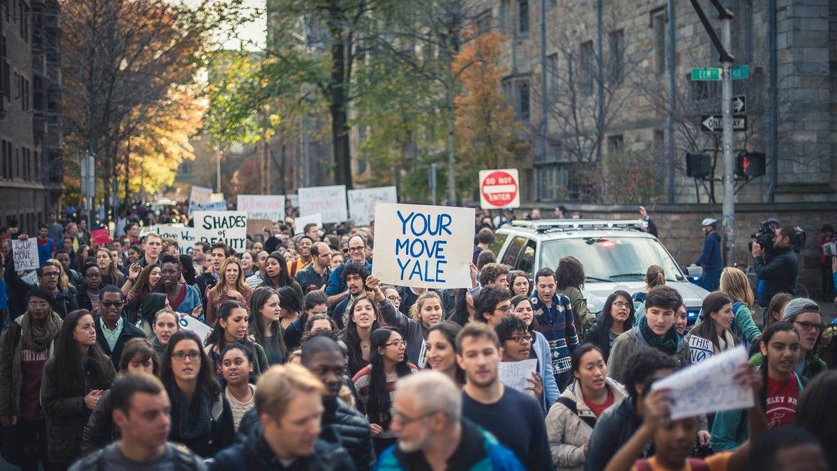 The march took place on Monday and followed weeks of students sharing their experiences of racism on campus.