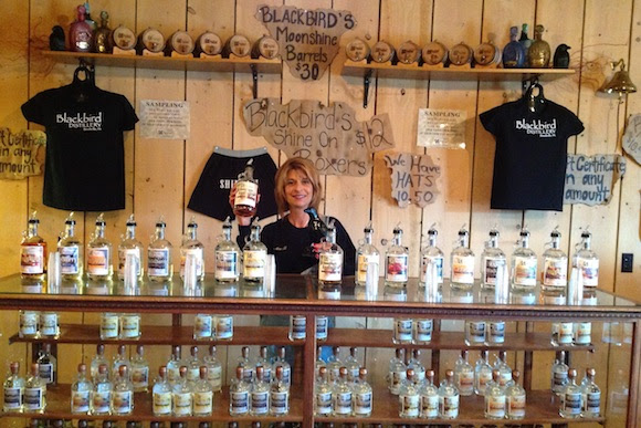 Jennifer Black behind the bar at Blackbird