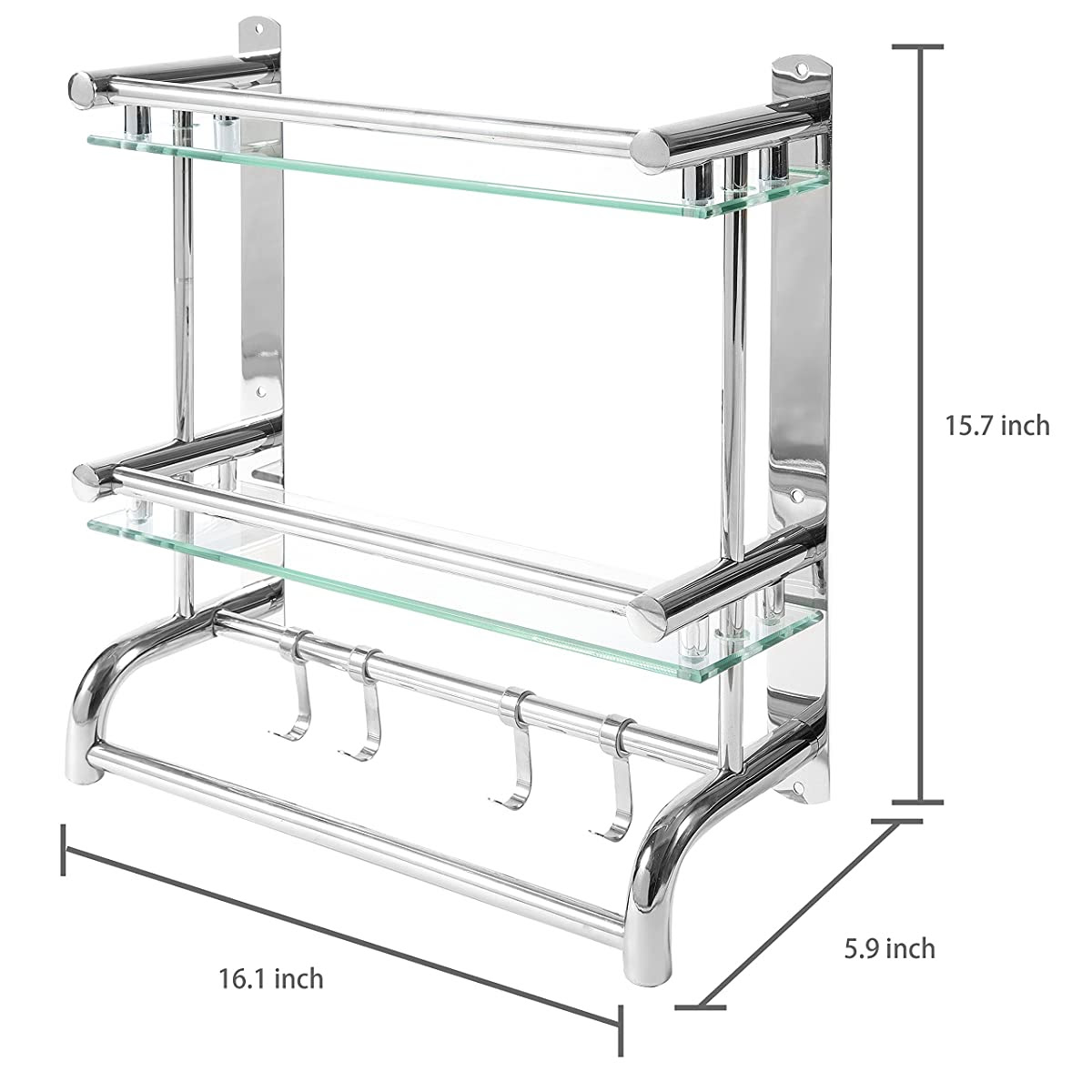 Mygift Wall Mounted Stainless Steel Bathroom Shelf Rack 2 Tier