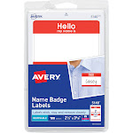 """Avery Hello Name Badge Labels, 2 11/32"""" x 3.375"""", Red - 100 count"""