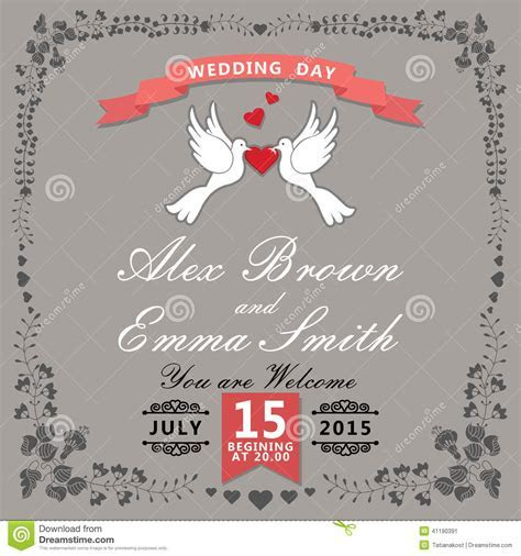 Cute Wedding Invitation.Floral Items And Cartoon Pigeons