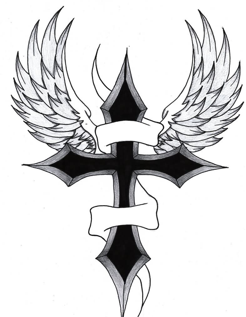 Banner Black Cross Wings Tattoo Design