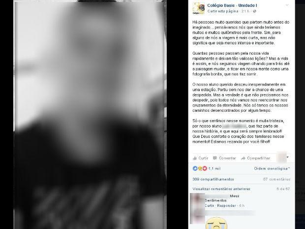 Escola onde ele estudou prestou homenagem nas redes sociais (Foto: Reprodução/ Facebook)