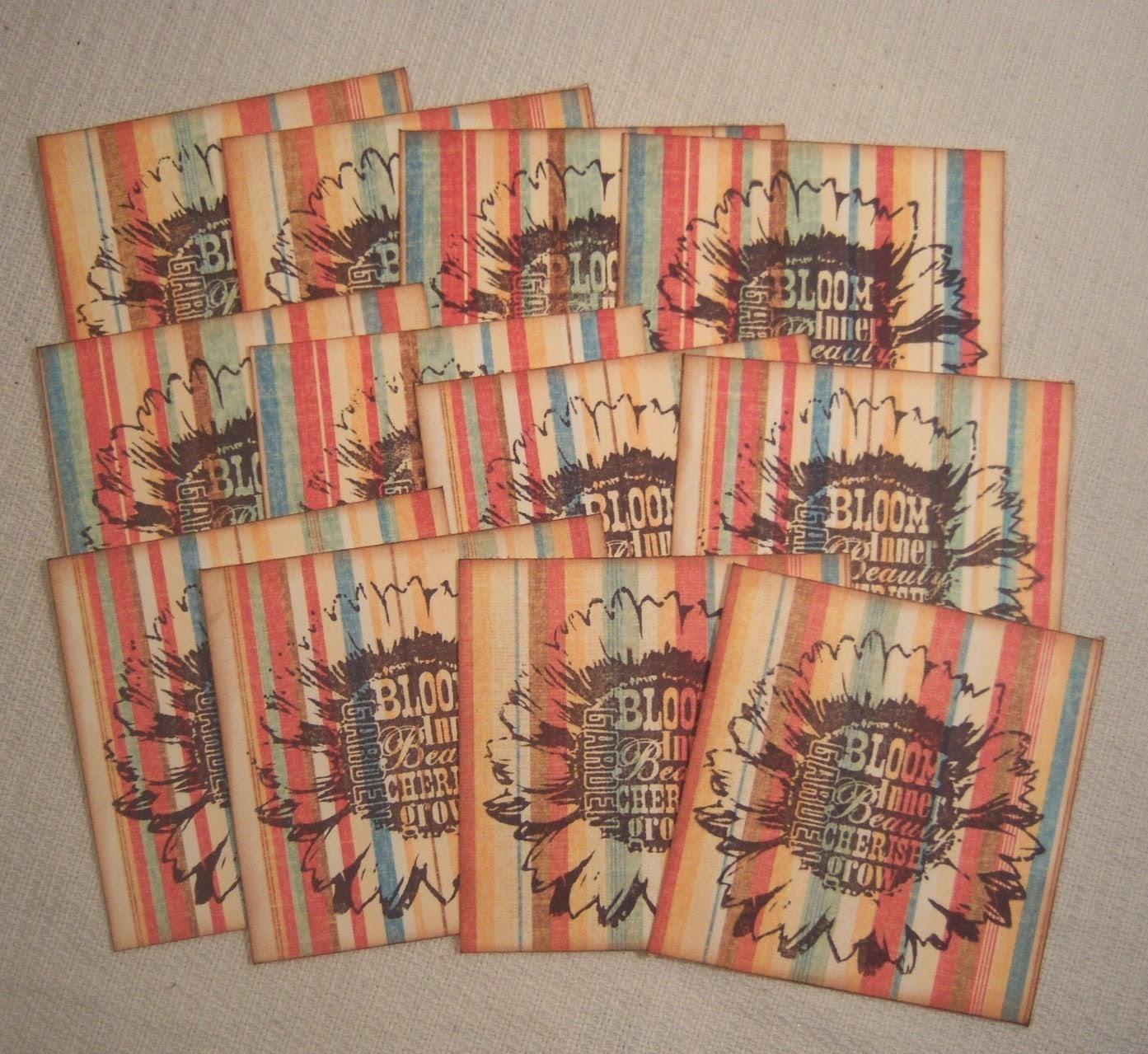 Bloom Flower Cherish Grow Garden Daisy Striped Hang Tags - Vintage Retro Inspired