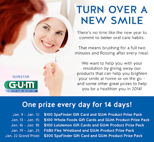 Sweeps ~ Turn over a new smile sweeps - Win a $100 gift card & GUM prize pack giveaway plus 40 pack flossers with friend referrals!