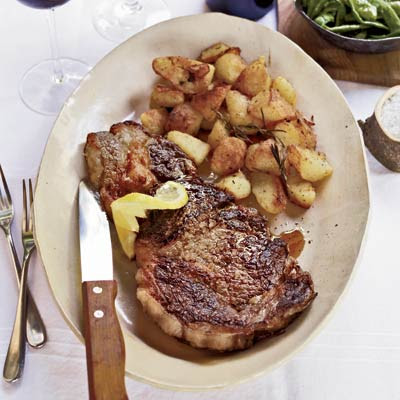 The rib-eyes shine here but it's the potatoes that take center stage. Parboiled, then roasted with rosemary and olive oil until they become crispy on the outside, there is nothing for them to do but steal the show! Don't worry, inside they're light, fluffy, and buttery.Recipe: Grilled Rib-Eye Steaks with Roasted Rosemary Potatoes
