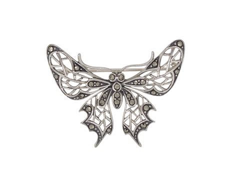 Art Nouveau Style Marcasite Butterfly Brooch   Archer