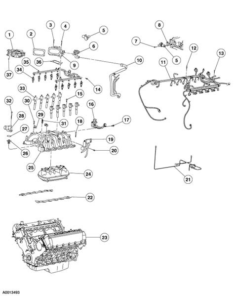 Show diagram of the engine and part names